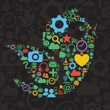 Social Media Bird Illustration Çizim