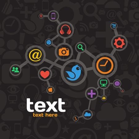 communication icons: Social Media Network