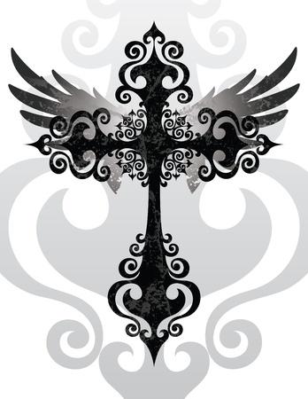 cross and wings: Cruz y alas Vectores