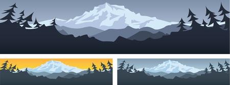 山のシーン  イラスト・ベクター素材
