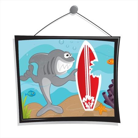 surfboard fin: Shark Story Illustration