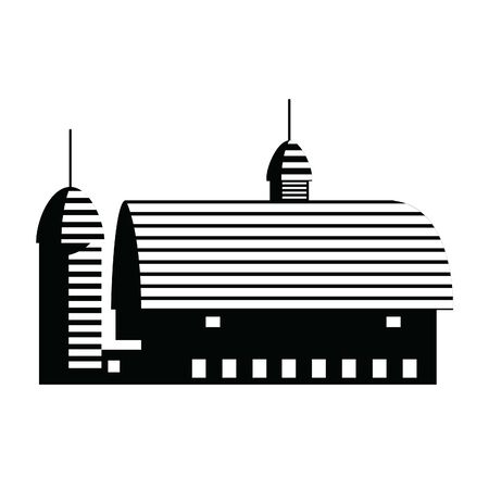 Vector illustration of a barn and silo