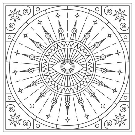 Mandala. Abstraction. Linear vector illustration.