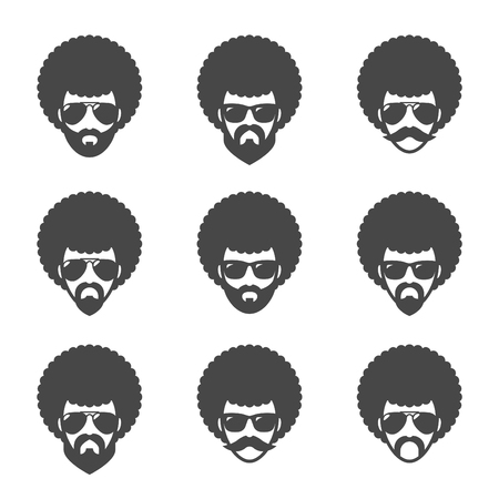 Funky male in sunglasses with Afro hair. 向量圖像