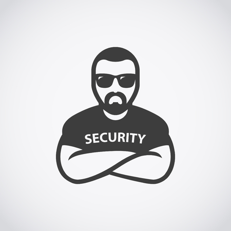 Security man icon. Bouncer in sunglasses.