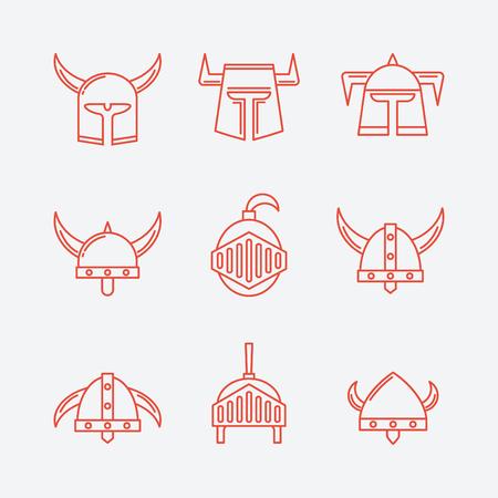 Set of Warrior Helmet. Icon.