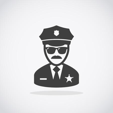 patrol: Police Icon vector. Policeman Officer avatar illustration.