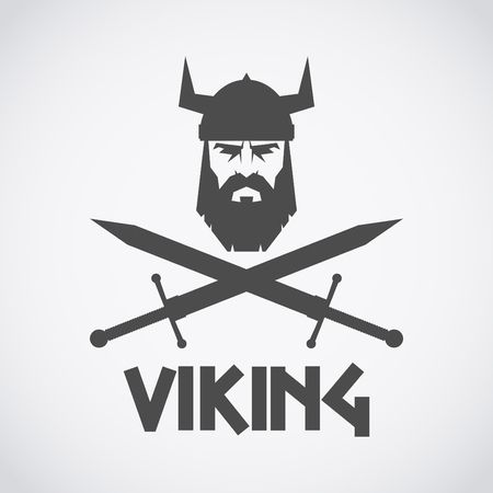Bearded Viking helmet and crossed swords. 版權商用圖片 - 83813405