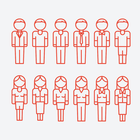 A Vector outline icons of people. Man and woman. 版權商用圖片 - 83813410