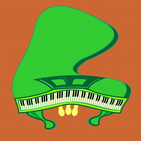 pedals: Crooked green piano with open keyboard and pedals Illustration