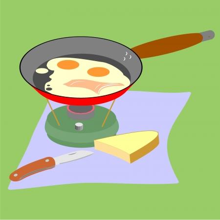 primus: Fry pan with scrambledeggs on a primus