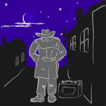 deserted: A man wearing a raincoat and a hat, with a suitcase on a deserted street at night