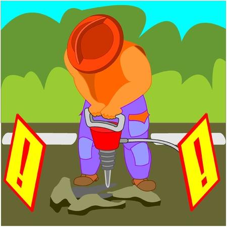 presslufthammer: Man wearinga Helm mit einem Presslufthammer, auf einer autobahn