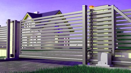 Automatic Sliding Gate for the House, 3D Illustration Zdjęcie Seryjne