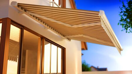 Canvas Awning in the Morning, 3D Illustration 版權商用圖片