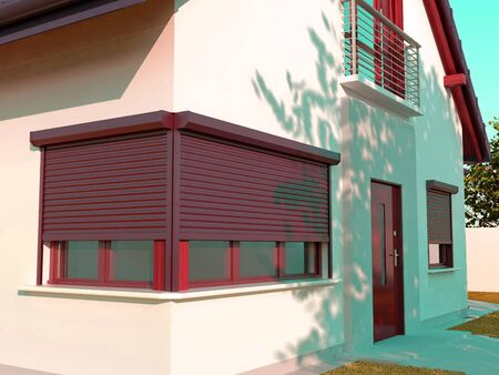 Window roller of a House illustration 写真素材