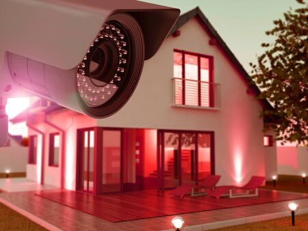 Security camera and home in the evening, 3D Illustration