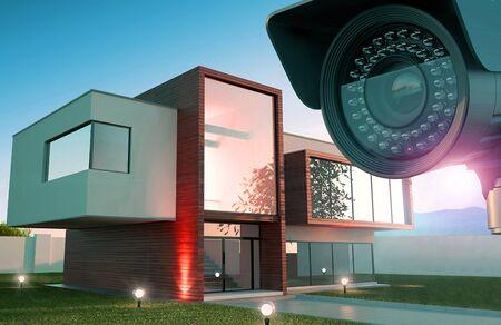 Security camera and modern house, 3D illustration Reklamní fotografie