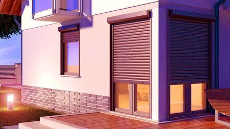 Window roller illustration, 3D Illustration 写真素材