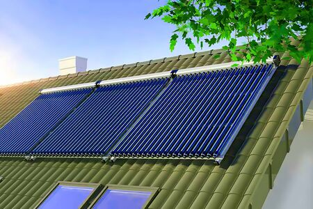 Solar water heater on the roof 3D illustration Stok Fotoğraf