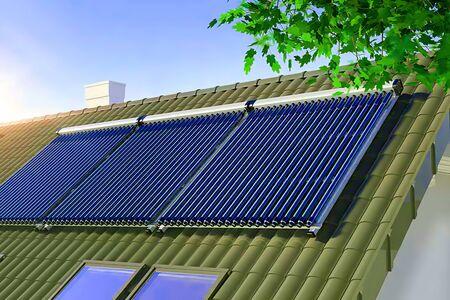 Solar water heater on the roof 3D illustration Stockfoto