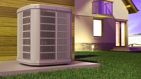 Air heat pump and house 3D Illustration Stock fotó