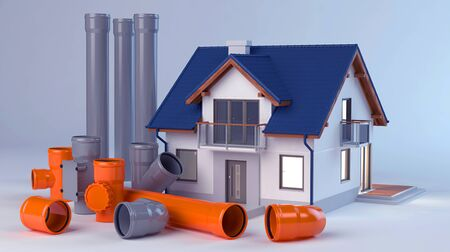 House and elements for sewer system 3D Illustration Stok Fotoğraf