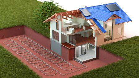 Heat Pump, ground source 3D Illustration 写真素材