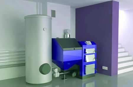 Heating system, 3d illustration