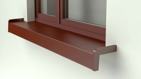 Metal windowsill and window, 3D illustration