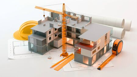 Apartment construction in 3D Illustration