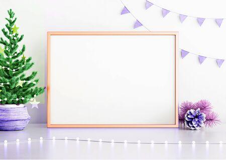Horizontal poster mock up with golden frame, decorated christmas tree, garland lights and holiday decoration on white wall background with copy space. 3D rendering.