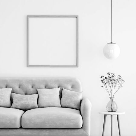 Poster mockup with square frame on empty wall in living room interior with sofa, pastel pillows and hanging lamp with copy space. 3D rendering.
