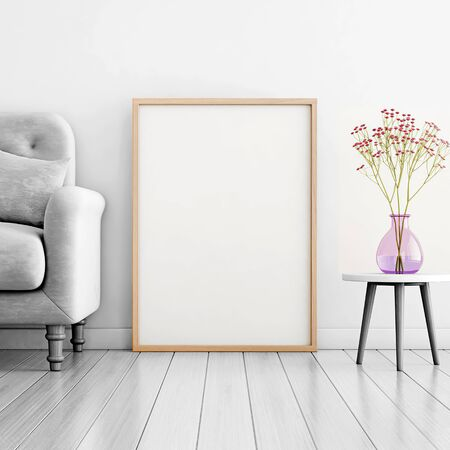 Poster mockup with vertical frame standing on floor in living room interior with sofa and flowers in vase with copy space. 3D rendering.