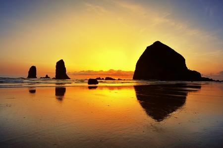 Prachtige zonsondergang in canon strand Stockfoto