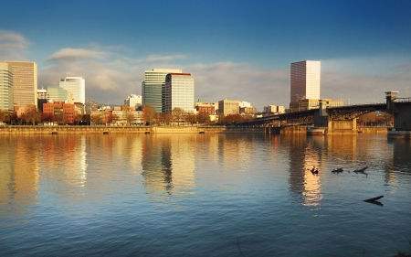 eastbank: The Portland Downtown in Early morning Sunlight