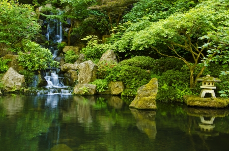 Cascading waterfall in japanese garden at portland Stock Photo - 20300689