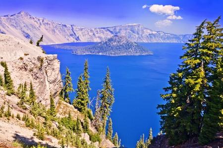 The deep blue beautiful crater lake