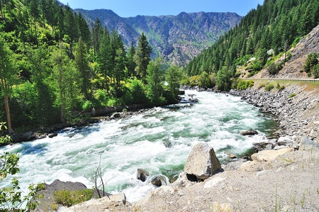 The flowing wenatchee river