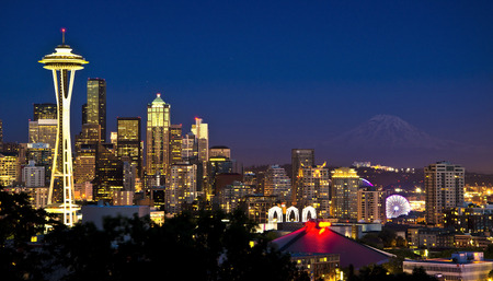 Beautiful nightview of seattle Stock Photo
