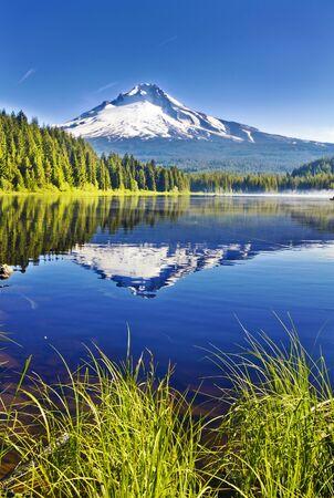 Beautiful Trillium Lake and Mt Hood 스톡 콘텐츠