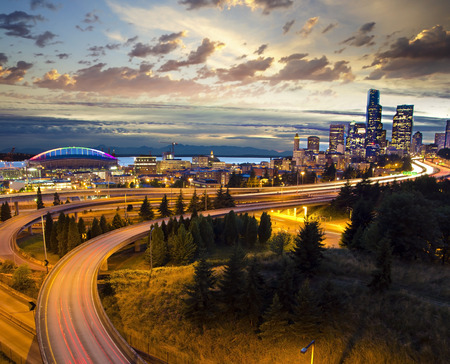 washington landscape: Beautiful nightview of seattle Stock Photo