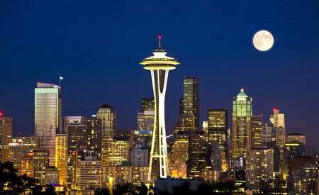 シアトルの美しい夜景 写真素材