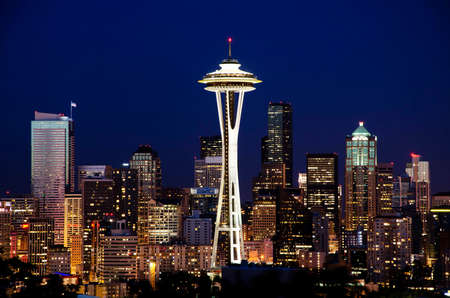 space travel: Beautiful nightview of seattle Stock Photo
