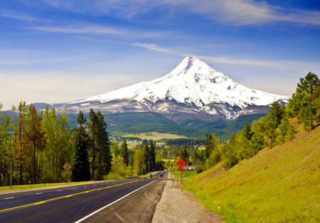 mt  hood national forest: Mt Hood from a Road at Hood River Stock Photo
