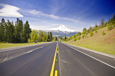 oregon cascades: Mt Hood from a Road at Hood River Stock Photo