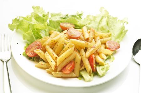 Pasta met pasta saus en tomaat Stockfoto