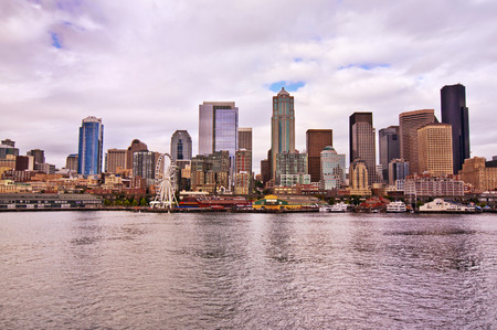 The Seattle downtown view from Ferry Stock Photo