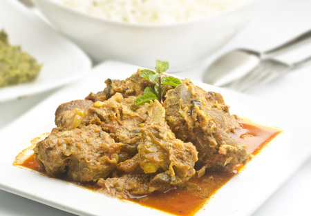 mutton: Yummy delicious mutton with rice Stock Photo