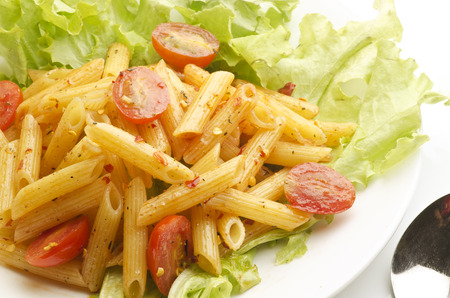 Pasta with pasta sauce and tomato 版權商用圖片